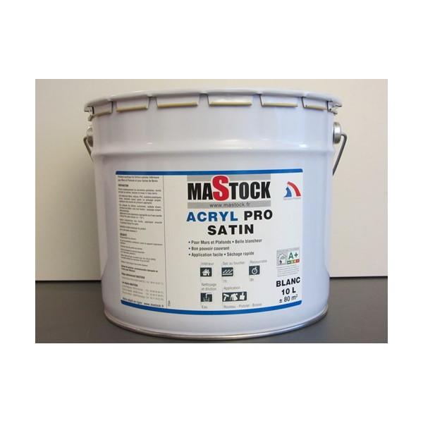 Peinture Acrylique Blanc Satin 10 L Peinture Mastock
