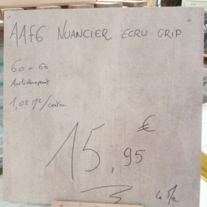 "Carrelage Terrasse 60x60cm ""AAF6 Nuancier Ecru Grip"" - Mastock"